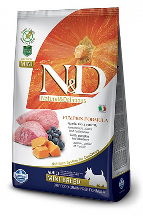 N&D Dog GF Pumpkin Lamb & Blueberry Adult Mini, Корм для собак мини породы, тыква ягненок черника