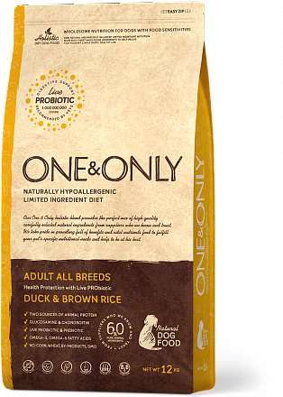 ONE&ONLY Duck & Rice Adult All Breeds, Корм для собак утка рис