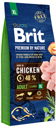 Brit Premium by Nature Adult XL, Корм для собак гигантские породы, курица